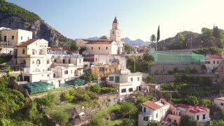 Fly Over Aerial Of Amalfi Coast Italy Cliffs Houses Church Luxury Holiday Tourism Travel Drone Shot 4k