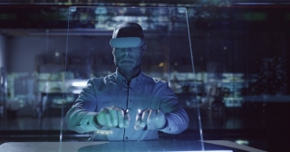 Medical Professional Male Doctor With Vr Glasses And Gloves Using Ar Technology Display To Diagnose Patient Brain Future Of Health Interface Software Concept