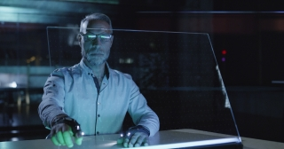 Medical Professional Doctor Analyzing Futuristic Virtual Hud Display Data In A Lab Future Of Medical Technology Concept Red Epic 8K