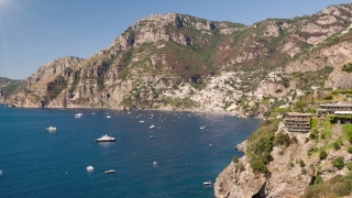 Aerial Flight Over Sunny Positano Italy Shore Cliffs Houses Harbor Summer Holiday Tourist Attraction Drone Shot 4k