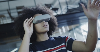 Young Businesswoman Wearing Vr Goggles Working On Project Modern Technology Future Gaming Slow Motion 8k