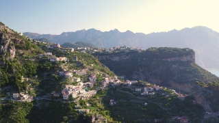 Aerial Flight Over Amalfi Coast Italy Mediterranean Panorama Luxury Holiday Tourism Travel Drone Shot 4k