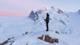 Winter Aerial Over Successful Climber Climbing Mountain Top Winter Mountains Alps Winter Holiday Happiness Achievement Concept