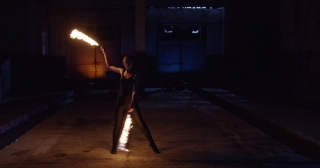 Beautiful Female Model Performing Fire Show In Darkness Brave Female Professional Stunt Low Light Slow Motion 8k Red Epic