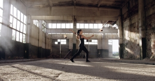 Beautiful Female Model Dancing With Fire In Abandoned Building Confidence Beauty Fog Slow Motion 8k Red Epic