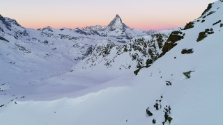 Epic Flight Over Snow Mountain Range At Evening Morning European Winter Vacation Cinematic Nature 4k Slow Motion