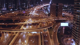Aerial Of Night City Cars Lights Moving Junction Overpass Metropolitan City Skyline Business Financial District Low Light Uhd Hdr 4k