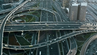 Aerial Of Urban Traffic Sunset Rush Hour Traffic Overpass City Panorama Metropolitan Landscape Slow Motion Uhd Hdr 4k