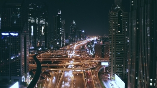Helicopter Between Skyscrapers Over Night Urban Overpass Landscape Traffic Jam Futuristic Communication City Metropolitan Landscape Low Light Uhd Hdr 4k