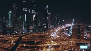 Drone Flight Over Urban Overpass Traffic Jam Futuristic Communication City Dubai Business District Low Light Uhd Hdr 4k