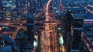 Drone Flight Over Skyscrapers Urban Highway At Night Cars Lights Moving Junction Technological Communication Metropolitan Landscape Low Light Uhd Hdr 4k