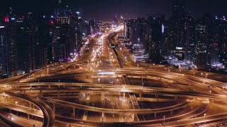 Drone Flight Over Night City Traffic Jam Futuristic Communication City Business Technology Low Light Uhd Hdr 4k