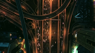 Drone Flight Over Urban Overpass At Night Traffic Moving Overpass City Panorama Business Technology Low Light Uhd Hdr 4k