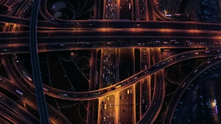 Helicopter Flight Over Sunset Night City Traffic Moving Overpass City Panorama Dubai Business District Low Light Uhd Hdr 4k