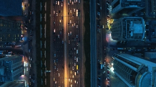 Aerial Shot Over Urban Traffic Highway Busy City Transport Business Technology Low Light Uhd Hdr 4k