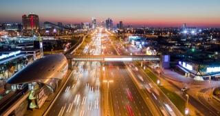Aerial Of Urban Highway At Night Rush Hour Traffic City Panorama Metropolitan Landscape Low Light Uhd Hdr 4k