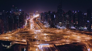 Aerial Of Night City Traffic Jam Busy City Transport Dubai Business District Low Light Uhd Hdr 4k