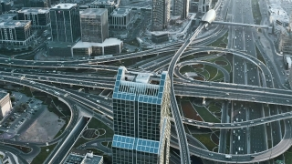 Aerial Of Urban Landscape Cars Lights Moving Junction Futuristic Communication City Dubai Business District Slow Motion Uhd Hdr 4k