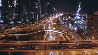 Helicopter Flight Over Night City Traffic Moving Overpass Technological Communication Metropolitan Landscape Low Light Uhd Hdr 4k
