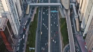 Aerial Of Golden Hour Urban Landscape Rush Hour Traffic Overpass Metropolitan City Skyline Metropolitan Landscape Slow Motion Uhd Hdr 4k