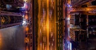 Helicopter Flight Over Night Highway Urban Hyperlapse Rush Hour Traffic Technological Communication Metropolitan Landscape Low Light Uhd Hdr 4k