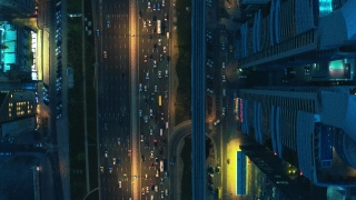 Drone Flight Over Urban Highway Skyscrapers At Night Traffic Moving Overpass Busy City Transport Business Technology Low Light Uhd Hdr 4k