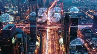 Urban Junction Overpass Aerial Drone Flight During Rush Hour Night Traffic Wireless Communication World Of Tomorrow 5g Network Drone Low Light 4k