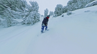 Man On Snowboard Extreme Snowboarding Down A Mountain Trees Winter Vacation Freedom Nature Snow Leisure 360 Wide Angle Slow Motion 8k Hdr