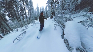 Man On Snowboard Extreme Snowboarding Down Steep Slope Trees Extreme Winter Lifestyle Freedom Nature Snow Leisure 360 Wide Angle Slow Motion 8k Hdr