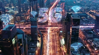 Panoramic Skyline Of Metropolitan City Aerial Drone Flight After Sunset Futuristic Technology Ai 5g Network Drone Low Light 4k