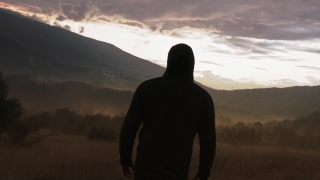 Silhouette Of Sad Man Sadly Looking At Sunset At Sunrise Loneliness Travel Slow Motion 8k