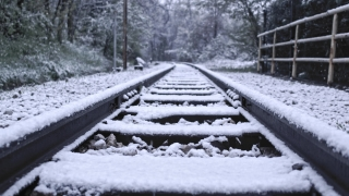 Snowy Railroad Track Shot Camera Tracking During Snow Storm Social Distance Loneliness Slow Motion 4k Hdr