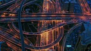 Panoramic Skyline Of Metropolitan City Network Formation During Rush Hour Traffic Holograms World Of Tomorrow Futuristic Technology 5g Network Drone Low Light 4k