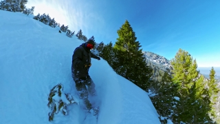 Man On Snowboard Sliding Downhill Woods Winter Vacation Action Extreme Snow Adventure 360 Wide Angle Slow Motion 8k Hdr