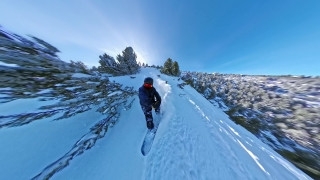 Man On Snowboard Speeding Downhill Woods Extreme Winter Sports Action Extreme Snow Adventure 360 Wide Angle Slow Motion 8k Hdr
