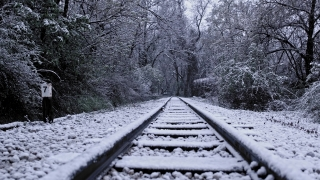 Rusted Railway Track Camera Tracking During Winter Journey Loneliness Abandoned Social Restrictions Slow Motion 4k Hdr