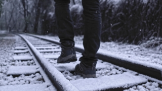 Tourist Legs On Abandoned Railway Camera Tracking During Quarantine Journey Social Restrictions Slow Motion 4k Hdr