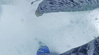 POV Snowboarder Extreme Snowboarding Down A Slope Trees Winter Sport Freedom Nature Snow Leisure 360 Wide Angle Slow Motion 8k Hdr