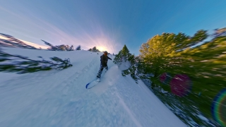 Man On Snowboard Sliding Downhill Woods Extreme Winter Lifestyle Action Extreme Snow Adventure 360 Wide Angle Slow Motion 8k Hdr