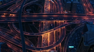 Urban Junction Overpass Information Flow During Night Virtual Reality Ai 5g Network Drone Low Light 4k