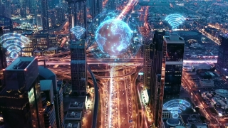 Urban Junction Overpass Aerial Drone Flight During Rush Hour Night Traffic Futuristic Technology World Of Tomorrow 5g Network Drone Low Light 4k