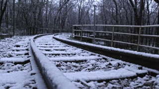 Snowy Railroad Track Shot Camera Tracking During Snow Storm Social Distance Social Restrictions Slow Motion 4k Hdr