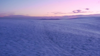 Aerial Shot Of National Park Winter Peak Early Morning Mist Colorful Purple Orange Sky Cold Blizzard Cinematic Flight 4k