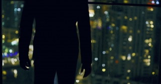 Successful Young Man Overlooking Skyline Rooftop Urban City View Entrepreneurship Night City Lights Slow Motion Red Epic 8k