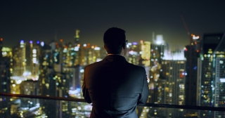 Young Businessman Looking At City Sky Scrapers Urban Landscape Entrepreneurship Urban Night Lights Slow Motion Red Epic 8k