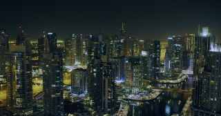 Night Urban Landscape Aerial View Downtown Metropolis Red Epic 8K