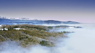 Drone Aerial Over Foggy Winter In Mountain Forrest At Sunset Sunrise Beautiful Colors Sky Cold Blizzard Cinematic Flight 4k