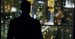 Young Entrepreneur Standing At Balcony City Skyline Dubai Urban Panorama Fame Night City Lights Slow Motion Red Epic 8k
