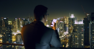 Young Businessman Overlooking Skyline Metropolis Urban Panorama Success Contemplation Night Downtown Slow Motion Red Epic 8k