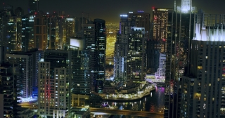 Uraban City Skyline Cars and Skyscrapers Night Lights Flicker Downtown Financial District Marina Dubai Red Epic 8K